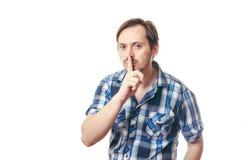 人支持他的手指在嘴前 图库摄影