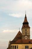黑人教会塔在布拉索夫,特兰西瓦尼亚,罗马尼亚 库存图片