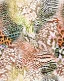 令人敬畏的动物混合印刷品-无缝的背景 库存照片