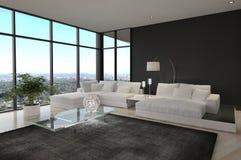令人敬畏的现代顶楼客厅|建筑学内部 免版税库存图片