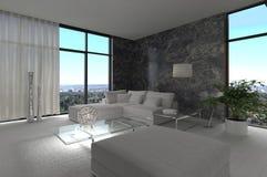 令人敬畏的现代顶楼客厅|建筑学内部 库存照片