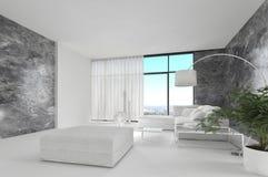 令人敬畏的纯净的白色顶楼客厅|建筑学内部 免版税库存图片