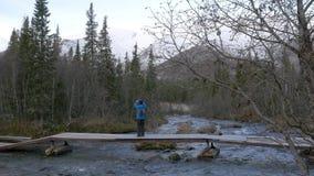 人旅客横渡在桥梁的一条山小河 美丽的景色 他拍摄在智能手机的风景 股票视频