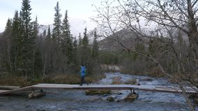 人旅客横渡在桥梁的一条山小河 美丽的景色 股票视频