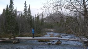 人旅客横渡在桥梁的一条山小河 美丽的景色 股票录像