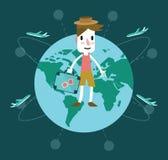年轻人旅行环球 免版税库存图片
