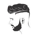 人时尚与胡子的发型理发 免版税库存图片
