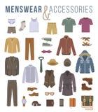 人时尚衣裳和辅助部件平的传染媒介象 免版税库存图片