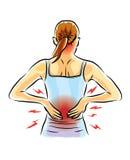 人是后背疼痛和痛苦 免版税库存照片