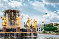 人景色的友谊公开喷泉在VDNH城市公园陈列、蓝天和云彩的在莫斯科,俄罗斯 免版税库存图片