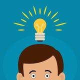 人有一个大想法 电灯泡在他的头的想法标志 库存照片