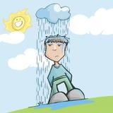 人有不幸,在一朵多雨云彩下 免版税库存照片