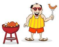 人有烤肉在夏天 免版税库存照片