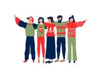 人朋友在圣诞节季节的小组拥抱 皇族释放例证