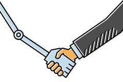 人机交互、握手在商人之间和机器人,简单的干净的概念线艺术传染媒介例证 皇族释放例证