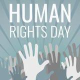 人权天概念背景,动画片样式的手 皇族释放例证