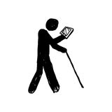 人标志乱画与片剂和长的棍子的 皇族释放例证