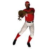 黑人棒球外野手 免版税库存图片