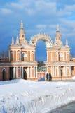 人步行在冬天公园 免版税库存照片