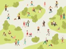 人民公园 活跃步行户外妇女人女孩孩子在公园去野餐体育谈的社区字符休闲午餐 库存例证