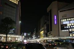 人民在街市街道京都,日本走 免版税库存照片
