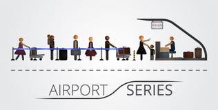 人民在飞行注册台的一个队列站立 免版税库存照片