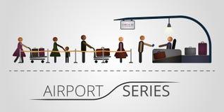 人民在飞行注册台的一个队列站立 图库摄影