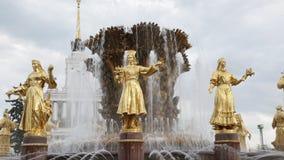 人民的喷泉友谊在VVC (VDNH)在莫斯科 股票视频