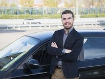 人汽车新的汽车微笑 免版税库存照片