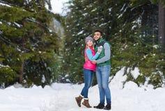 年轻人混合种族夫妇容忍雪森林室外冬天步行 免版税库存照片