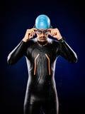 人游泳者游泳被隔绝的三项全能ironman 免版税库存图片
