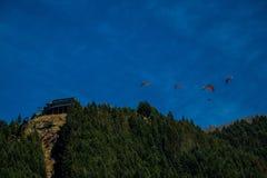 人滑翔伞高在山上 库存图片