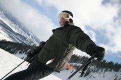 人滑雪倾斜 免版税图库摄影
