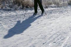 人滑雪的阴影在黑裤子的 与滑雪和copyspace的斯诺伊背景 库存照片