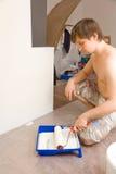 人漆滚筒盘 库存照片