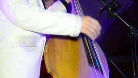 人演奏在阶段的低音提琴 表现 影视素材