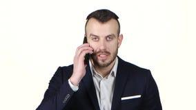 人激怒了谈话在手机和尖叫 奶油被装载的饼干 股票录像