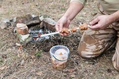 人烤的被串起的肉串 库存图片