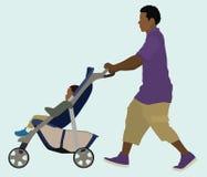 黑人爸爸和婴孩 免版税库存图片