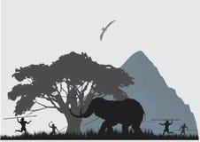 人狩猎场面庞然大物的 免版税库存照片