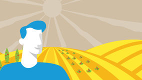 人现出轮廓在农田 抽象向量 Agrotourism 免版税库存图片