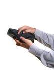 人现有量,拿着空的钱包 免版税库存照片