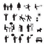 人生活集合的标志 家庭小组,工作人的图表 免版税图库摄影