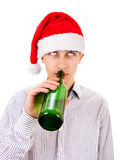 年轻人用啤酒 免版税图库摄影