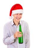 年轻人用啤酒 免版税库存图片