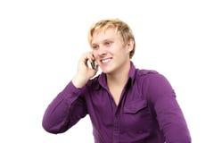 人电话联系的年轻人 库存图片