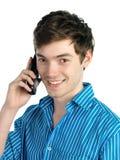 人电话年轻人 免版税库存图片