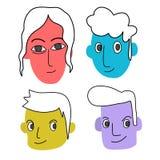 人的五颜六色的面孔 免版税库存图片