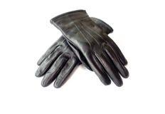 黑人的冬天皮手套 库存照片