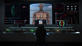 人的卫生保健中心、主控制室、迅速移动的女性身体和扫描的人的肌肉,在数字显示的血液系统 皇族释放例证